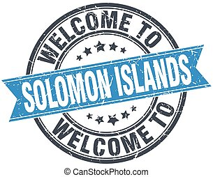 welcome to Solomon Islands blue round vintage stamp