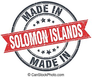 made in Solomon Islands red round vintage stamp