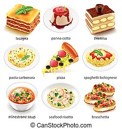Italian food icons vector set - Italian food icons detailed...
