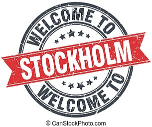 welcome to Stockholm red round vintage stamp