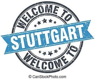welcome to Stuttgart blue round vintage stamp