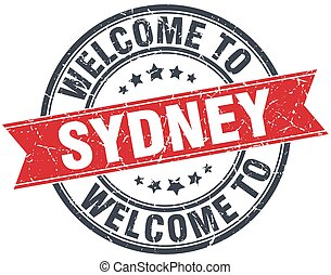 welcome to Sydney red round vintage stamp