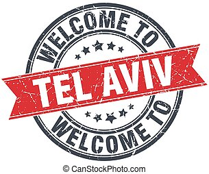 welcome to Tel Aviv red round vintage stamp