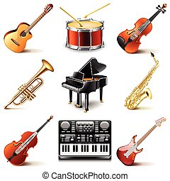 Musical instruments icons vector set - Musical instruments...
