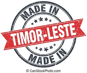 made in Timor-Leste red round vintage stamp