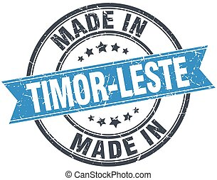 made in Timor-Leste blue round vintage stamp