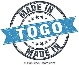 made in Togo blue round vintage stamp