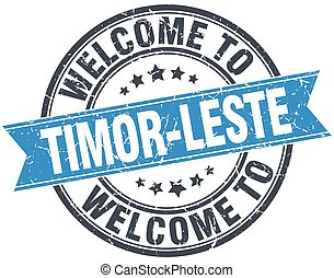 welcome to Timor-Leste blue round vintage stamp