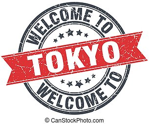 welcome to Tokyo red round vintage stamp