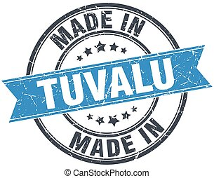 made in Tuvalu blue round vintage stamp