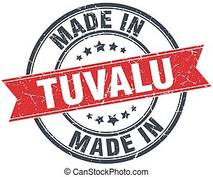 made in Tuvalu red round vintage stamp