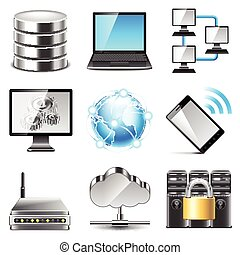 Network icons vector set - Network icons detailed photo...