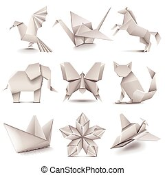 Origami icons vector set - Origami icons detailed photo...