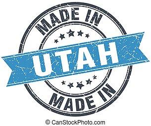 made in Utah blue round vintage stamp