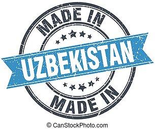 made in Uzbekistan blue round vintage stamp