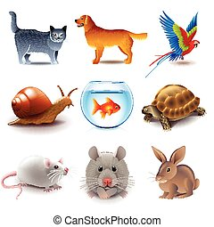Pets icons vector set - Pets icons detailed photo realistic...