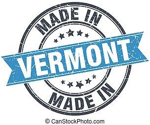 made in Vermont blue round vintage stamp