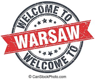 welcome to Warsaw red round vintage stamp