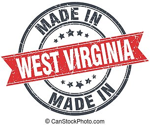 made in West Virginia red round vintage stamp