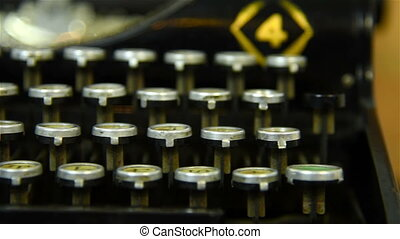 Vintage Typewriter Keys Extra Close Up Slow motion effect