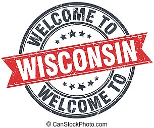 welcome to Wisconsin red round vintage stamp