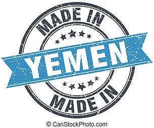 made in Yemen blue round vintage stamp