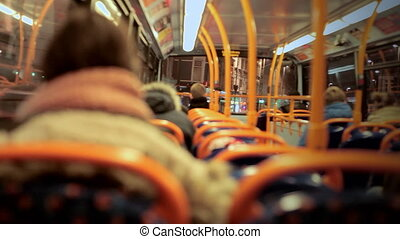 View of a night bus window, London