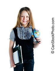Cute schoolchild with terrestrial globe and notebooks