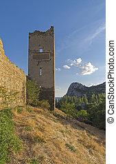 Well-preserved tower of the medieval fortress. -...