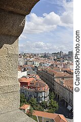 Arch of Clerigos Tower - View of the city from an arch of...