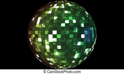 Firey Light Hi-Tech Squares Spinning Globe, Green, Alpha Channel, Loopable, HD