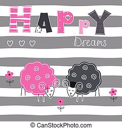 Background with couple sheep over stripe background for...
