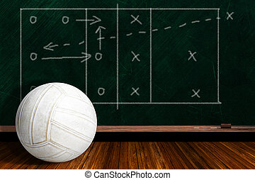 Game Concept With Volleyball and Chalk Board