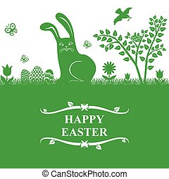 Easter greeting card with bunny and eggs on green background