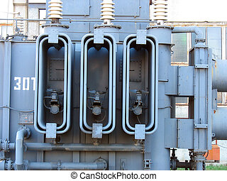 Huge high voltage electric converter detail at power plant
