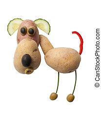 perro, hecho, de, papas, y, aceitunas, en, aislado, Plano de...