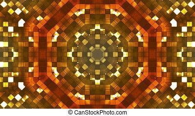 Broadcast Firey Light Hi-Tech Squares Kaleidoscope, Golden, Abstract, Loop, HD