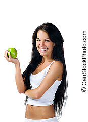 Pretty woman with green apple