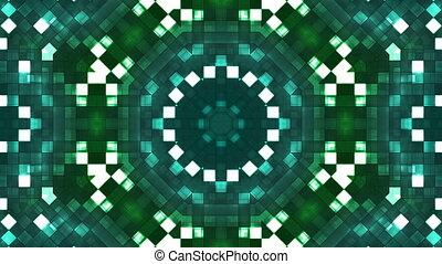 Broadcast Firey Light Hi-Tech Squares Kaleidoscope, Green, Abstract, Loop, HD