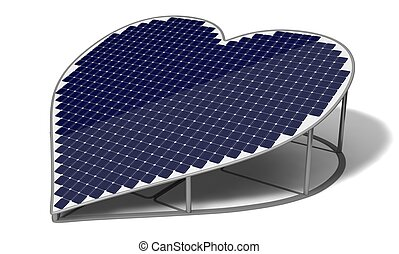 heart shaped solar panel - 3d heart shaped solar panel. blue...