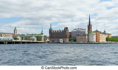 """stockholm old city view with metro passing, sweeden"""