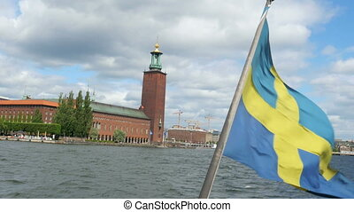 quot;ship with swedish flag leaving from old city,...