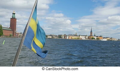 """ship with swedish flag leaving from old city, stockholm,..."