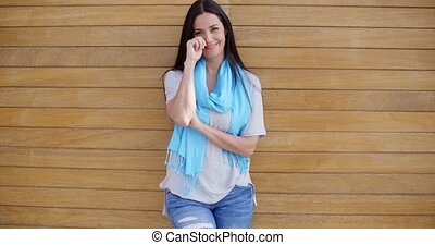 Confident woman with folded arms - Confident young woman in...