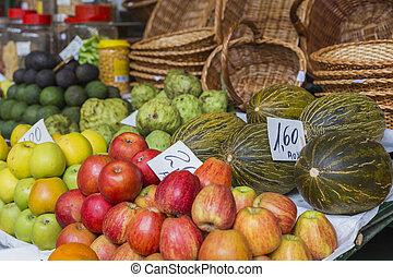 Fresh exotic fruits in Mercado Dos LavradoresMadeira Island,...