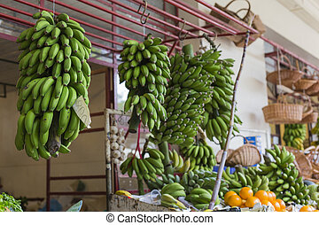 Fresh exotic fruits in Mercado Dos Lavradores.Madeira...