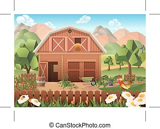 Farm vector background - Farm low poly, vector background