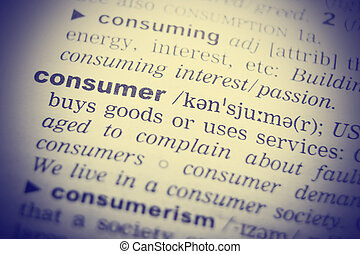 The word Consumer in a dictionary, close-up