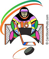 Hockey goalkeeper in the gate - illustration of hockey...