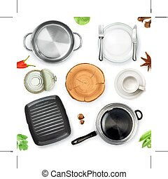 Kitchen utensils, top view vector object, isolated on white...